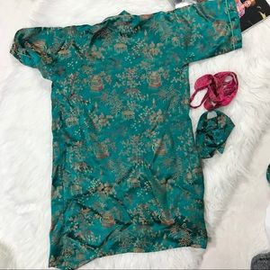 1141b41320 Pajamas - Girls Chinese Robe   Top Set Jade Green Vintage